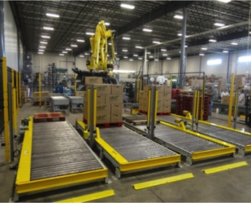 FANUC Robotic Carton Palletizer system with 4 CDLR output conveyors
