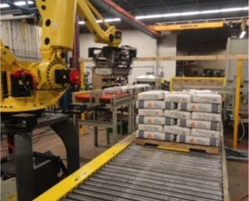 Fanuc Robotic Bag Palletizer with CDLR conveyors- cement bag palletizer